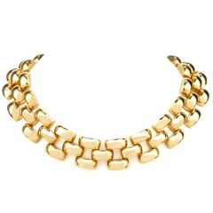 Estate Wide Open-Link 18K Choker Necklace