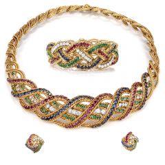 Boucheron Ensemble Diamond Ruby Sapphire, Emerald Woven 18K Choker Necklace, Bracelet and Earrings
