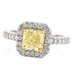 EGL  Yellow Diamond Platinum Elegant Princess Cut Engagement Ring