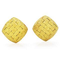 Italian 18K Gold Elegant Textured Clip on Earrings
