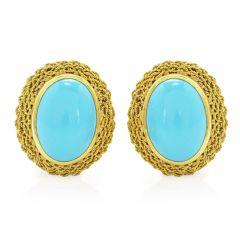 Turquoise 18K Gold Elegant Oval Clip On Earrings