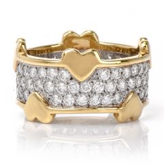 Tiffany & Co. Schlumberger Diamond Platinum Gold Eternity Ring Band