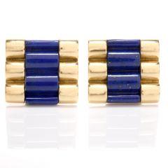 Blue Lapis 18K Ribbed Cufflink Set