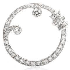Vintage Diamond Wreath Platinum Round Brooch
