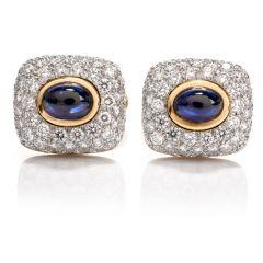 Spectacular Estate DIamond Sapphire 18K Platinum Cufflinks