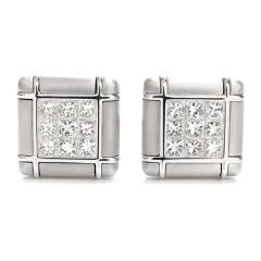 Estate George Gero Invisibly Set Princess Cut Diamond Cufflink Set