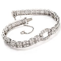 Antique Opulent Deco Diamond Platinum Bracelet