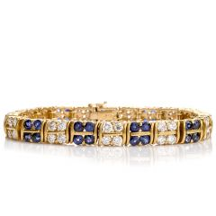 GIA Exquisite Diamond and Sapphire Double S Link 18K Bracelet