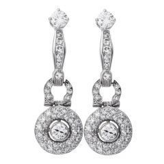 Art Deco Vintage Diamond Platinum Halo Dangle Earrings
