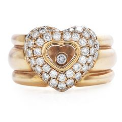 Chopard Happy Diamond 18K Gold Pave Heart Wide Cocktail Ring