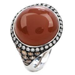 Estate Diamond Peach Moon Stone 18K Gold Elegant Cocktail Ring