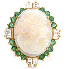Vintage Cameo Carved Opal Diamond Emerald 18K Cocktail Ring