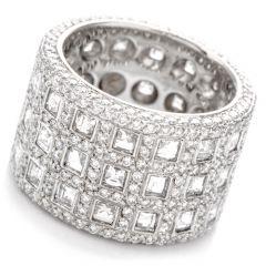 Estate Asscher Cut Diamond Wide Platinum Eternity RIng Band