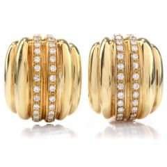 Vintage Diamond Italian 18K Ribbed Clip On Earrings
