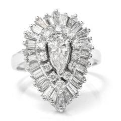 Estate 1960s Pear Diamond Ballerina Platinum Pendant Ring