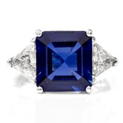 Estate Three Stone Sapphire Trilliant Diamond Platinum Ring
