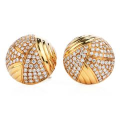 Cartier Vintage 5.50 carats Diamond 18K Gold Dome Clip On Earrings