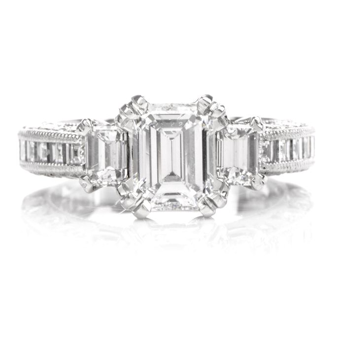 Tacori Gia Diamond Emerald Cut Band Platinum Engagement Ring