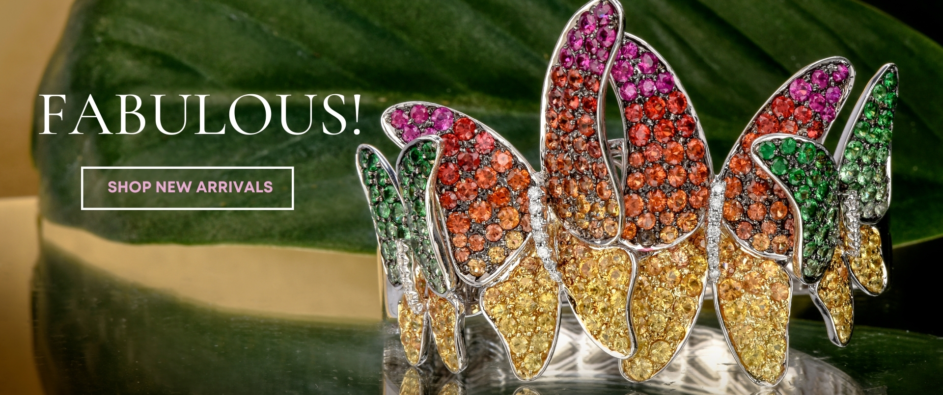 Designer Diamond Sapphire Tsavorite 18K  Butterfly Bracelet l Dover Jewelry