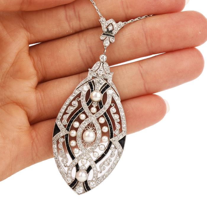 5c5def006cf3c Antique Art Deco Diamond Pearl Onyx Platinum Locket Pendant Chain Necklace