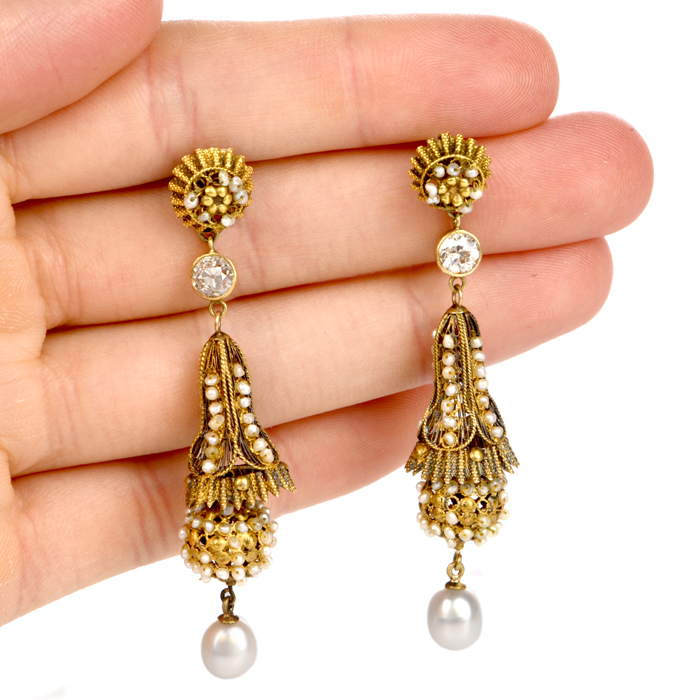 af7447a95 Antique Etruscan Revival Diamond Seed Pearl Pendant Gold Earrings