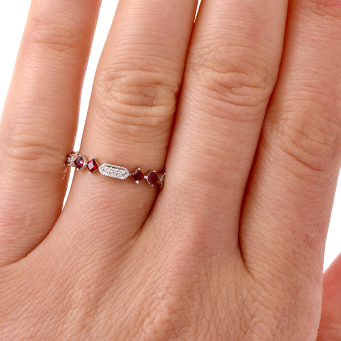 Ruby Diamond White Gold Wedding Stackable Band Ring